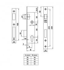 Cerradura Para Perfil Europeo Modelo 725 20/85 MM
