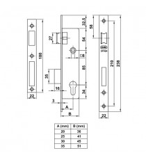 Cerradura Para Perfil Europeo Modelo 725 35/85 MM