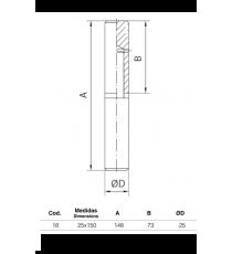 Pernio Torneado Con Arandela De Latón 25X150 MM