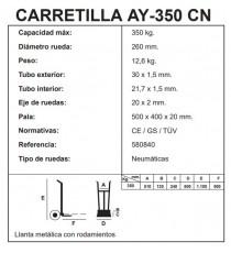 Carretilla Pala Abatible Rueda Neumática AY-350-CN