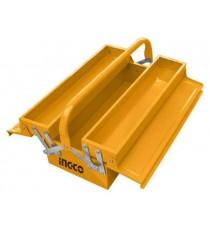 Caja de Herramientas Metálica Amarilla 2 Bandejas 370 x 120 x 163
