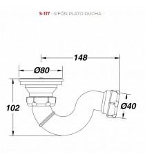 Sifón Orientable Plato de Ducha S-117 1 1/2