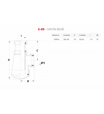 Sifon Botella Extensible Corto Horizontal S-69 1 1/4