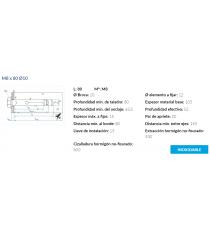 Anclaje Antigiro Cargas Medias M8 x 80 Ø10 Inox 6 Unidades