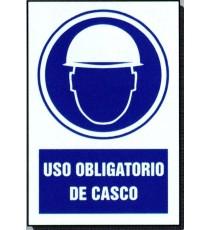 """Señal """"Uso obligatorio de casco"""" 30x21 cm"""