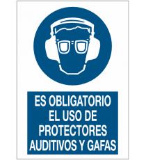 """Señal """"Uso obligatorio de protector auditivo y gafas"""" 42 x 30 cm"""