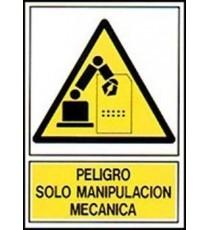 """Señal """"¡Peligro! Manipulación mecánica"""" 42 x 30 cm PVC"""