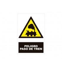 """Señal """"Peligro paso del tren"""" 42 x 30 cm PVC"""