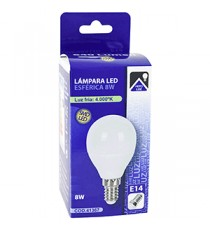 Lámpara Led Esférica E14 8W 4000K