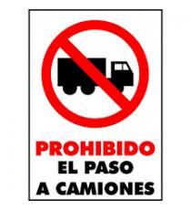 """Señal """"Prohibido el paso de camiones"""" 42x 30 cm PVC"""