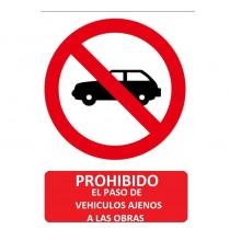"""Señal """"Prohibido el paso de vehículos autorizados"""" 42 x 30 cm PVC"""