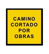 """Señal """"Camino cortado por obras"""" 42 x 30 cm PVC"""