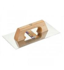 Llana rectangular afilada acero inoxidable 300x150 mm mango de madera - ALYCO