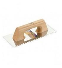 Llana rectangular inoxidable almenada 10 x 10 mm de 280 x 120 mm mango de madera - ALYCO