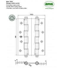 Bisagra Doble Acción 180x133.5x4 MM Aluminio Oro