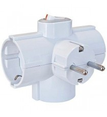 Adaptador triple salida lateral con Interruptor BL