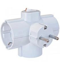 Adaptador triple salida lateral con Interruptor BL