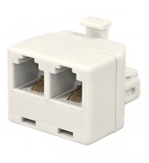 Doble adaptador TLF 1M-2H 6P4C Blanco