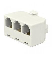 Triple adaptador TLF 1M-3H 6P4C Blanco