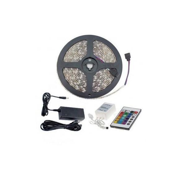 Tira LED 7.2W 30LED/m 3m IP54 RGB con Mando, Controlador y Fuente de Alimentación OSSUN