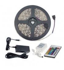 Tira LED 7.2W 30LED/m 5m IP54 RGB con Mando, Controlador y Fuente de Alimentación OSSUN