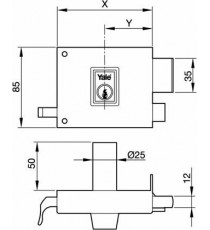 Cerradura 125 de 80 Cilindro redondo Derecha Pintada