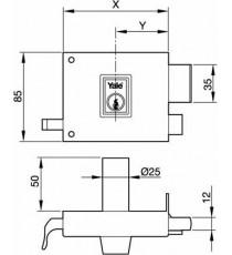 Cerradura 125 de 100 Cilindro redondo Derecha Pintada