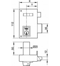 Cerradura 56-A de 60 Cilindro redondo Derecha Pintada