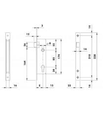 Cerradura Mod. 741 con frente de acero cromado de 22 mm, resbalón y entrada 25 ISEO