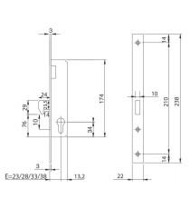 Cerradura Mod. 7411 con frente de acero cromado de 22 mm, leva corta, gancho y entrada 28 ISEO