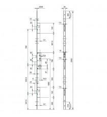 Cerradura MULTIPUNTO embutir INOX TRIPLE CIERRE E25 FRENTE PLANO PERFORMA ISEO