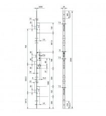 Cerradura MULTIPUNTO embutir INOX TRIPLE CIERRE E45 FRENTE PLANO PERFORMA ISEO