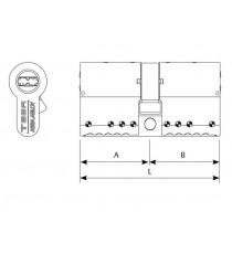 Cilindro de alta seguridad TK100 perfil europeo niquelado L 70 mm A30 B40 TESA
