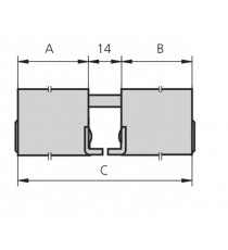 Cilindro Doble redondo Latón SERIE 5962 A25 B25 C64 CVL