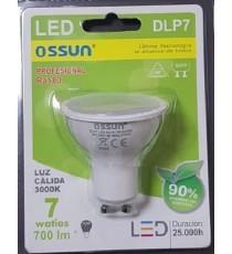 LÁMPARA DIACROICA LED DLP7 7W LUZ CÁLIDA 3000K GU10