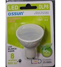 LÁMPARA DIACROICA LED DLP8 8W LUZ BLANCA 6400K GU10