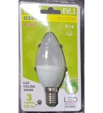 LÁMPARA VELA LED EVL3 E-14 3W LUZ CÁLIDA 3000K