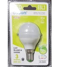 LÁMPARA GLOBO LED ESL3 E14 3W LUZ BLANCA 6400K