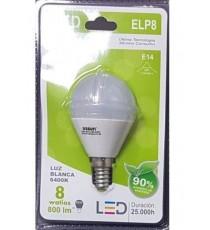 LÁMPARA GLOBO LED ELP8 E14 8W LUZ BLANCA 6400K