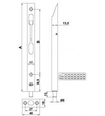 Pasador para embutir 162mm latonado